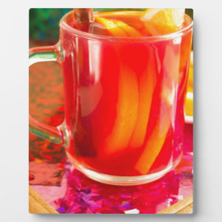 Glass mug with citrus mulled wine plaque