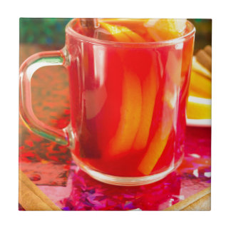 Glass mug with citrus mulled wine tile