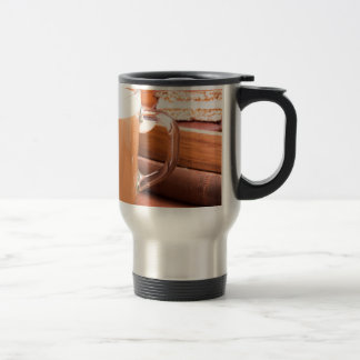 Glass mug with hot chocolate and biscuits