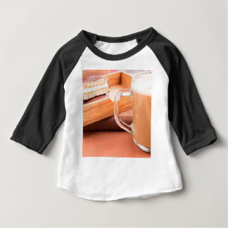 Glass mug with hot chocolate and biscuits baby T-Shirt