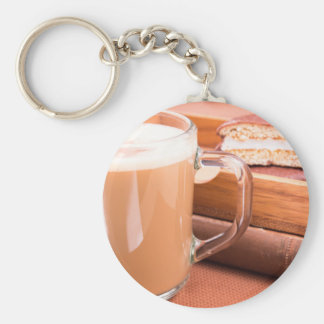 Glass mug with hot chocolate and biscuits keychain