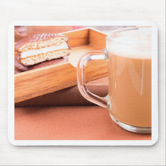 Glass mug with hot chocolate and biscuits mouse pad