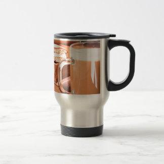 Glass mug with hot chocolate on a table