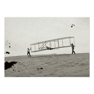 GLASS NEGATIVE WRIGHT GLIDER FIRST FLIGHT 1902 POSTER