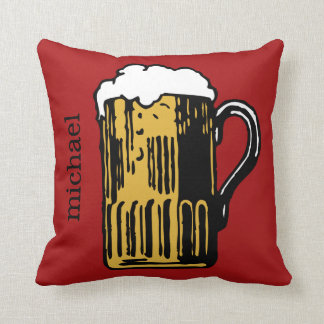 Glass of Beer custom name & color throw pillows