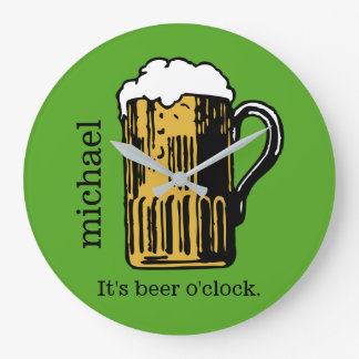 Glass of Beer custom name & color wall clock