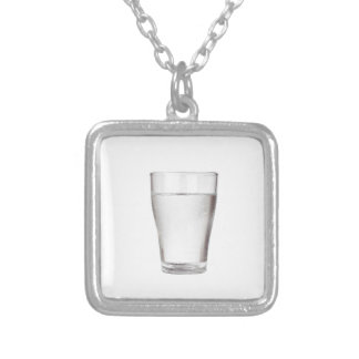 Glass of cold water silver plated necklace