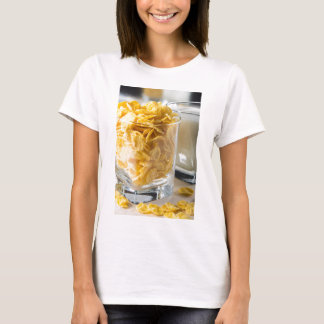 Glass of dry cereal and a glass of milk T-Shirt