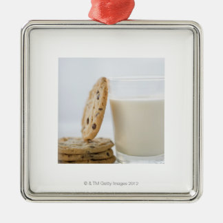 Glass of milk and cookies, close-up Silver-Colored square ornament