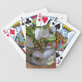 glass of snowdrops bicycle playing cards