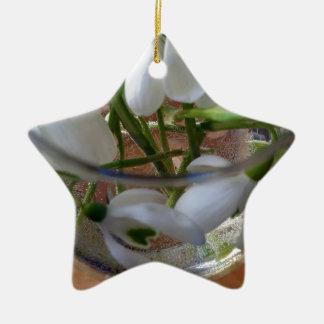 glass of snowdrops ceramic ornament