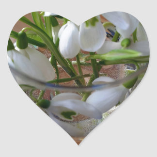 glass of snowdrops heart sticker