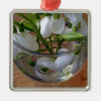 glass of snowdrops metal ornament