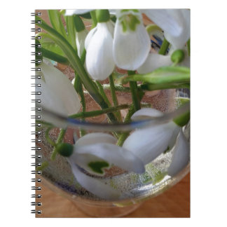 glass of snowdrops notebook