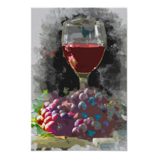 Glass of Wine and a Mound of Grapes in the Wine Ce Poster