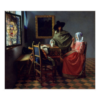 Glass of Wine by Johannes Vermeer, Canvas Poster