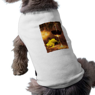 Glass of Wine & Green Grapes in Candlelight Doggie Tee Shirt