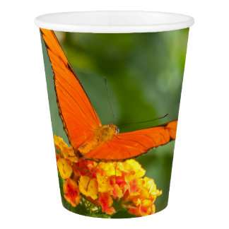 glass out of paperboard, photograph of a butterfly paper cup