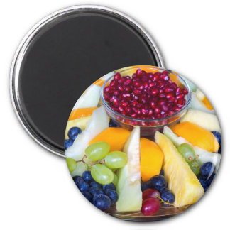 Glass scale full of various fresh fruits 2 inch round magnet
