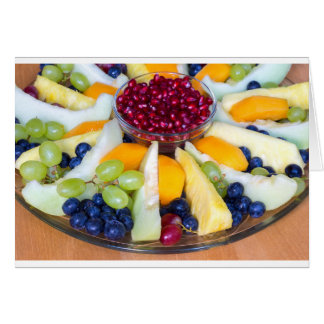 Glass scale full of various fresh fruits card