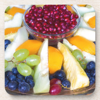 Glass scale full of various fresh fruits drink coaster