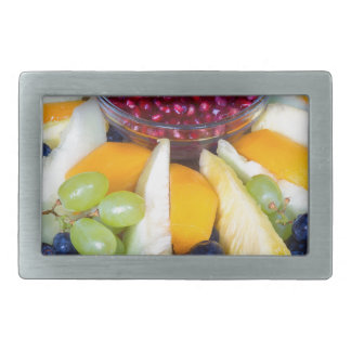 Glass scale full of various fresh fruits rectangular belt buckles