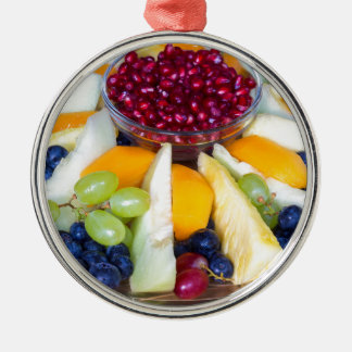 Glass scale full of various fresh fruits Silver-Colored round ornament