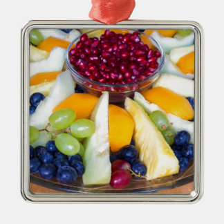 Glass scale full of various fresh fruits Silver-Colored square ornament