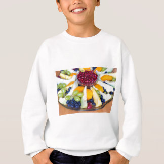 Glass scale full of various fresh fruits sweatshirt