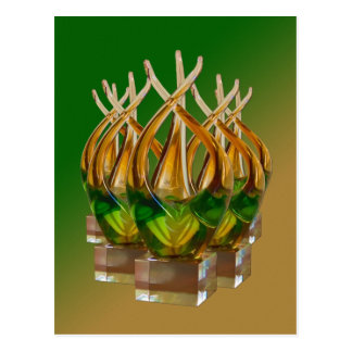 Glass Sculpture in Greens and Browns Postcard