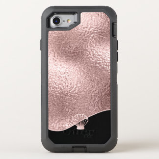 Glass Seashell Rose Gold ID363 OtterBox Defender iPhone 8/7 Case