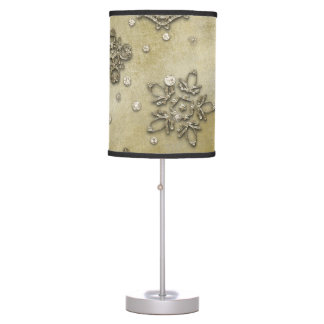Glass Snowflakes on Tree Background Table Lamp