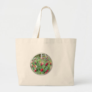 Glass sphere reflecting red tulips flower large tote bag