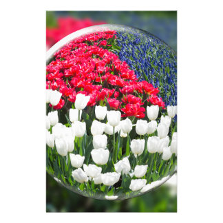 Glass sphere reflecting red white tulips and blue custom stationery