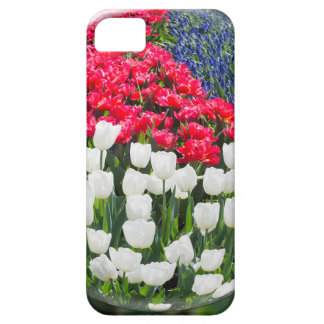 Glass sphere reflecting red white tulips and blue iPhone 5 covers