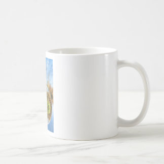 Glass sphere with autumn nature reflection in it coffee mug