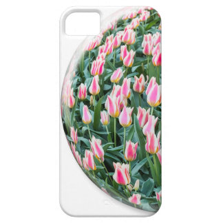 Glass sphere with red white tulips on white iPhone 5 cover