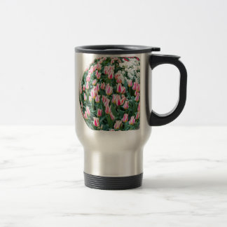 Glass sphere with red white tulips on white travel mug