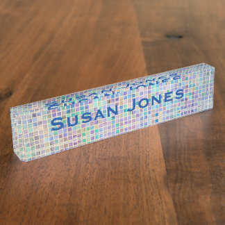 Glass Tile Mosaic cool modern colorful name Nameplate