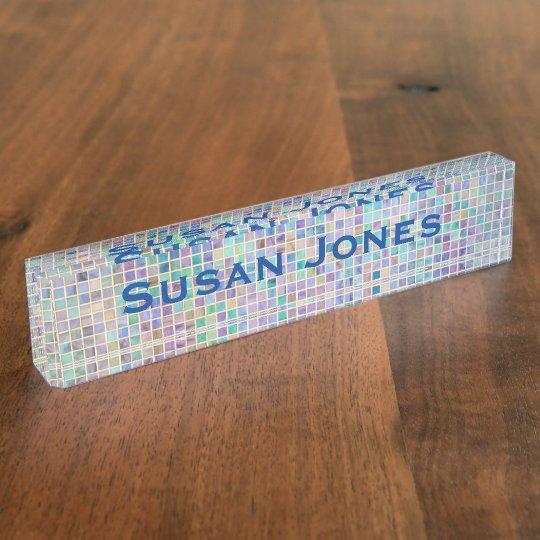 Glass Tile Mosaic cool modern colourful name Desk Name Plates