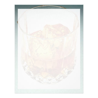 Glass tumbler filled with scotch and ice cubes letterhead
