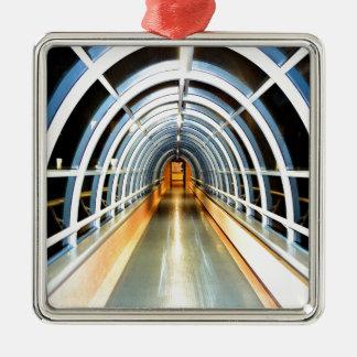glass tunnel path to secret Silver-Colored square ornament