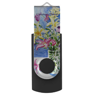 Glass Vase of Exotic Flowers with Your Name Swivel USB 2.0 Flash Drive