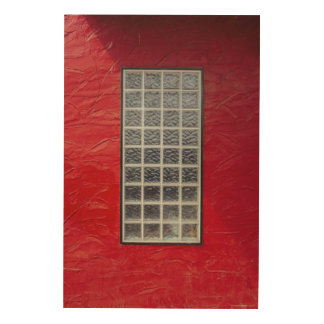 Glass Window on a Red Wall Wood Print