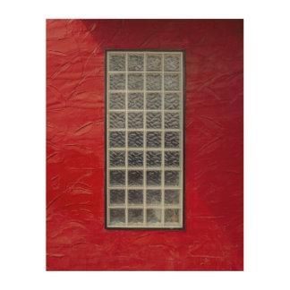 Glass Window on a Red Wall Wood Wall Art