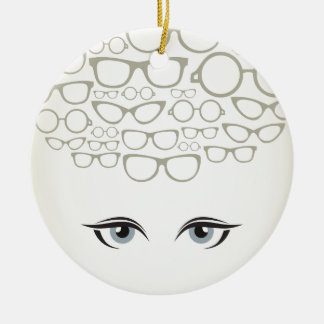 Glasses4 Round Ceramic Ornament