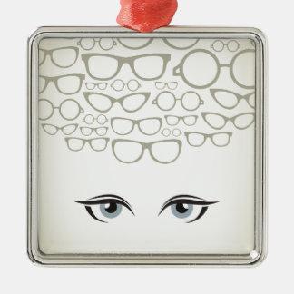 Glasses4 Silver-Colored Square Ornament