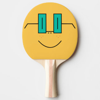 Glasses and Freckles Funny Face Ping Pong Racket Ping Pong Paddle
