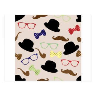 Glasses, Hats and Mustache Postcard