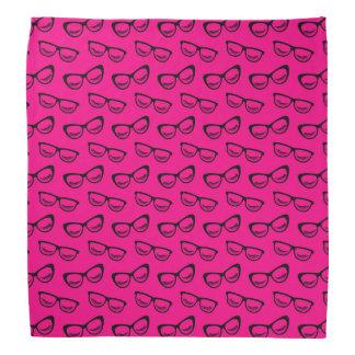 Glasses & Lashes Black On Pink Bandana